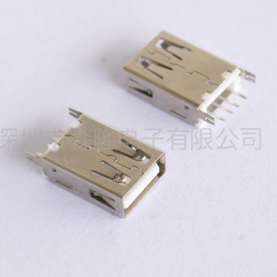 小米母座USB AF180度插板17.0mm/17.5mm直插鱼叉脚USB连接器