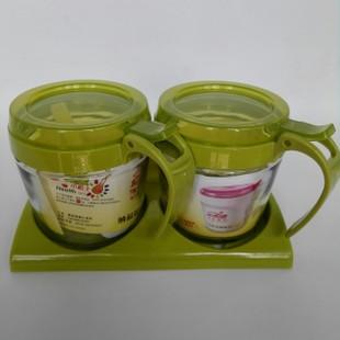 厨房用品玻璃调味罐 环保套装调料瓶 两组装调味盒