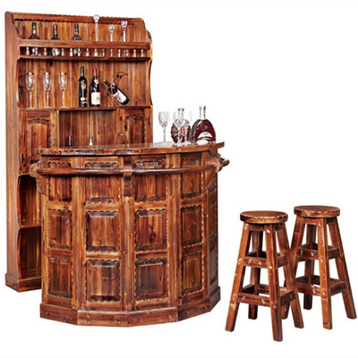 烧木收银台 实木吧台防腐木柜台 接待台复古吧台