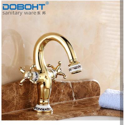 欧式双把手金色全铜干净水暖卫浴五金洁具冷热面盆水龙头