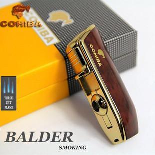 COHIBA金属雪茄三直冲打火机带开孔器5色可定广告LOGO代理加盟