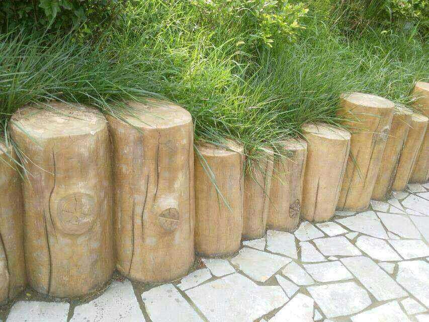 仿木花箱仿木花盆花池地板标识牌树桩围踏步石厂家 找