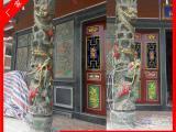 寺庙龙柱 青石龙柱 石材雕刻九龙石柱 石雕龙凤盘石柱设计加工