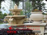 石雕大型水钵 白石水钵 黄锈石喷泉喷水池