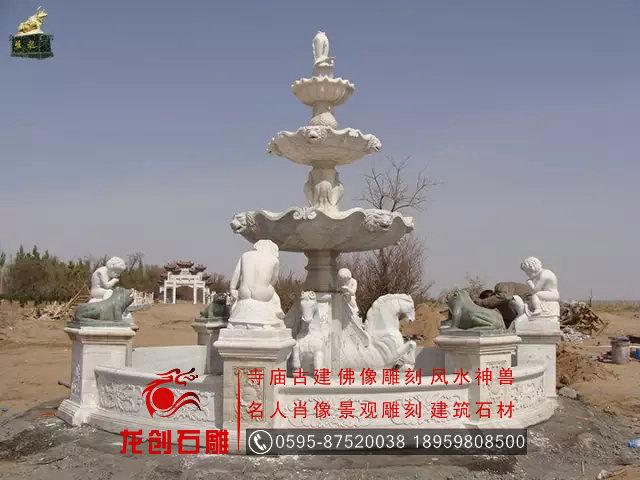 花岗岩动物水钵 欧式喷泉 园林户外喷水池
