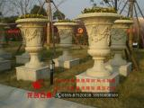 石雕花盆 黄锈石花钵 欧式花钵 现代艺术花钵