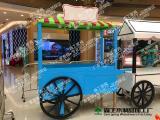 曾本厂家新款防腐实木商场手推售货车户外流动实木型售货车