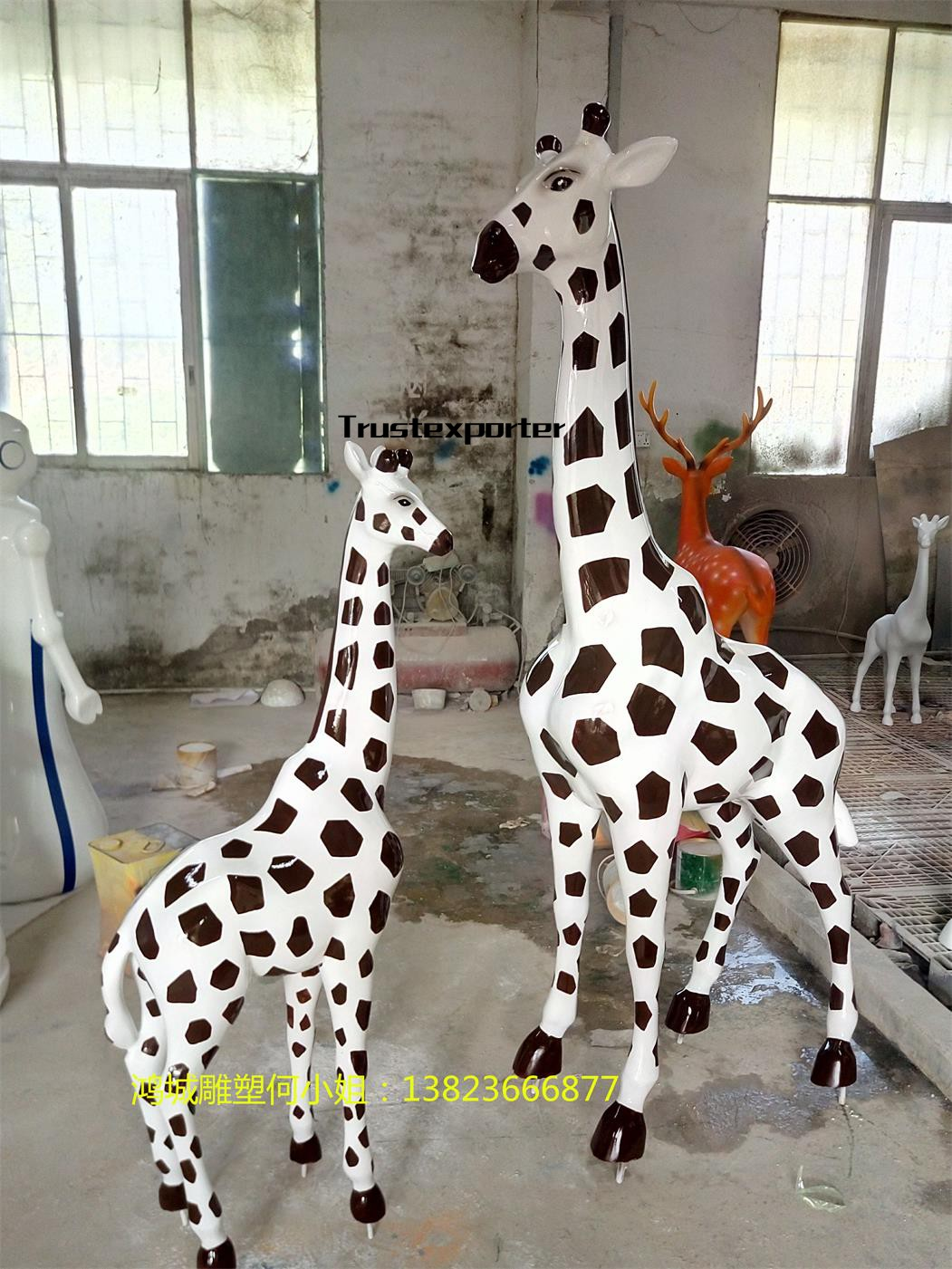 野生动物园雕塑摆件 大型长颈鹿雕塑装饰