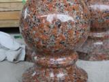 枫叶红花岗岩异形石材栏杆花瓶门套窗套装饰线条风水圆球柱罗马柱