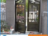 仿青铜铝合金拉丝护栏 铝艺别墅门 豪华高端铸铝别墅栏杆