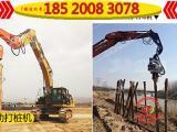 大型挖机打光伏桩,打水泥圆桩 方桩