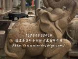 花岗岩石雕大象一对 黄锈石石雕大象 可定制