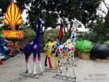 玻璃钢彩绘动物雕塑 玻璃钢彩绘长颈鹿玻璃钢园林景观小品摆件