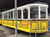 复古观光有轨电车模型 大型铁皮金属电车工艺品 一比一展示电车
