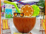商场夏季玻璃钢美陈DP水果元素饮料杯陈列装饰道具定制