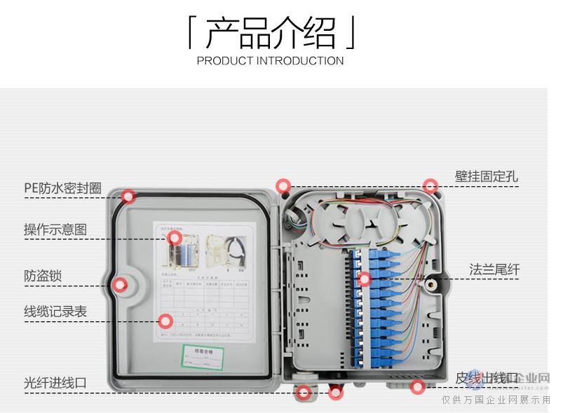 塑料12芯光纤分线箱  一 产品简介: 产品概述:        安装在室外墙壁