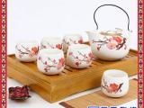 木质茶台七头青花功夫茶具