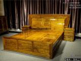 金丝楠木床 双人床 带床头柜 卧室家具 古典家具 金丝楠家具
