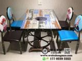 主题餐厅火锅桌定做 炭化车轮火锅桌椅组合 电磁炉火锅桌
