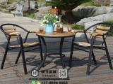 实木户外桌椅 铁艺户外桌椅 藤编户外桌椅