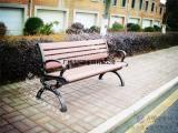 户外优质实木钢架休闲椅 公园椅定制园林椅 靠背扶手长椅