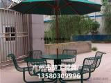 花园快餐桌椅 钢结构野餐桌凳 广州户外家具厂家