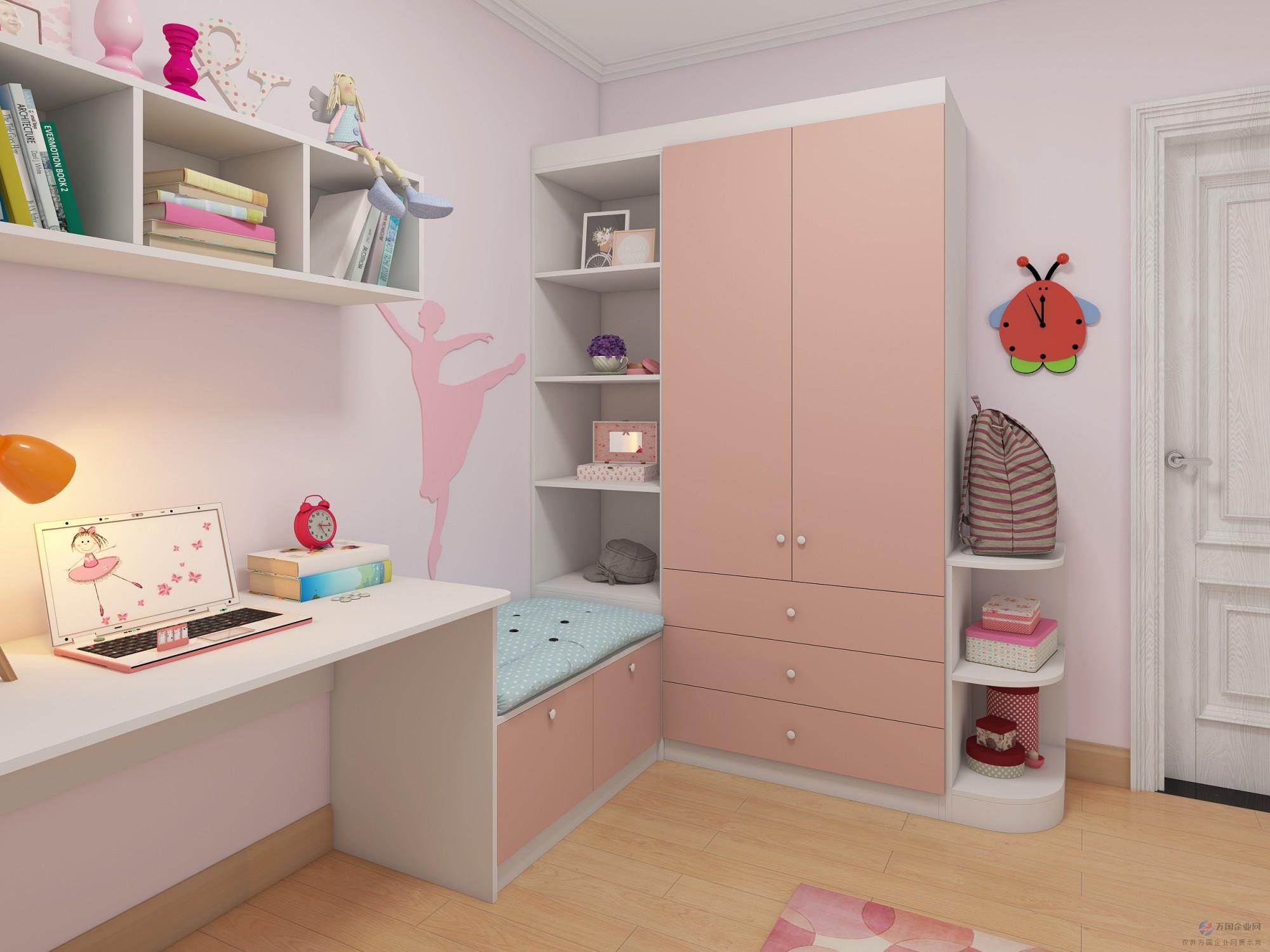 诗尼曼家居100粉色儿童房,榻榻米衣柜书柜组合卧室