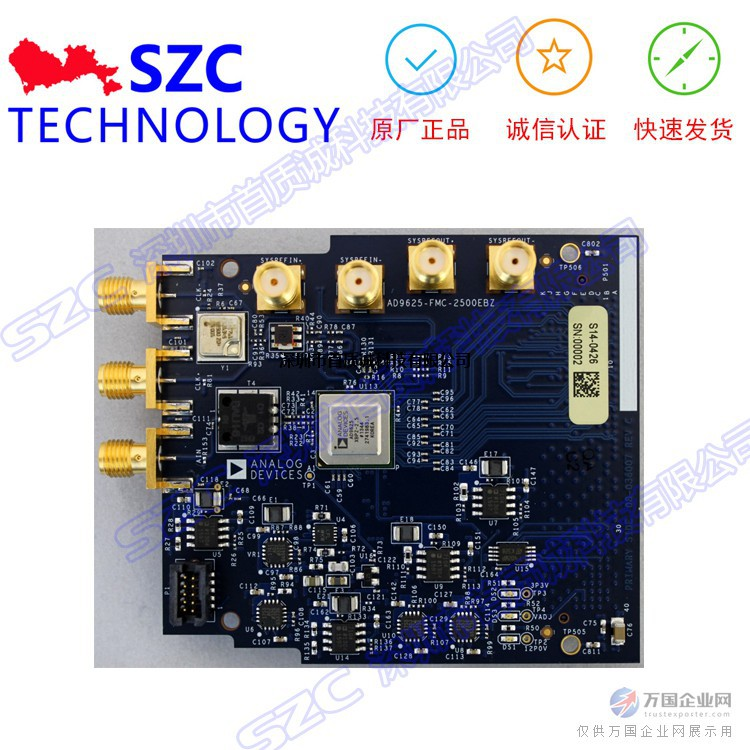 AD-FMCADC2-EBZ是一款集成单通道ADC(速率为2500 MSPS)AD9625的高速数据采集板,采用FMC尺寸形式,支持JESD204B高速串行接口。 AD9625是一款12位单芯片采样模数转换器(ADC),转换速率可高达2.5 GSPS。本产品设计用于对高达第二奈奎斯特区的宽带模拟信号进行采样。AD9625集宽输入带宽、高采样速率和出色的线性度等特性于一身,非常适合于频谱分析仪、数据采集系统以及各式军工电子应用,比如雷达和干扰/抗干扰措施等。 此板符合大多数FMC规格的机械尺寸、安装孔位和其