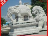 六牙石雕大象 泉州606芝麻白石材大象 梅花珠宝吉祥如意