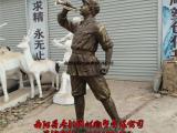 玻璃钢红军吹号角雕塑