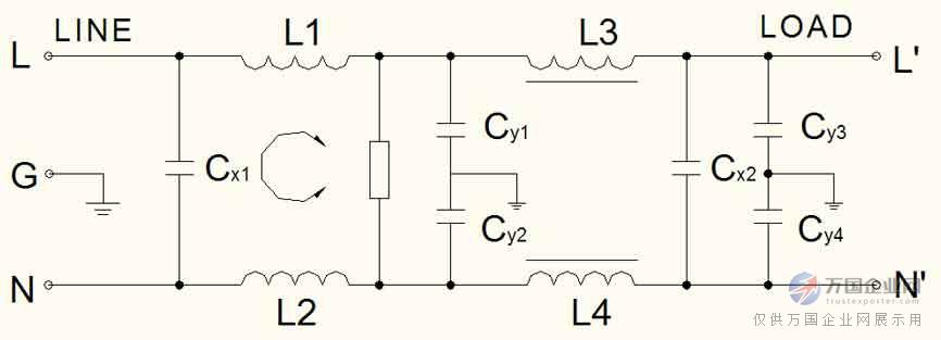 03  f封装差模增强型c系列电源滤波器  50ω测量系统,gb7343