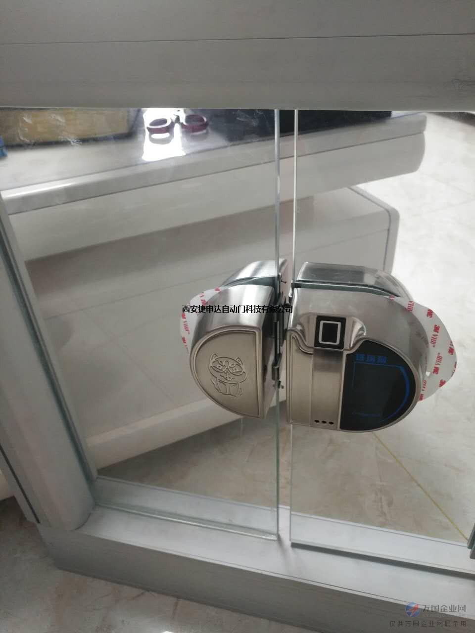 供应西安门禁玻璃狗玻璃门指纹锁双门免开孔密码锁电子锁