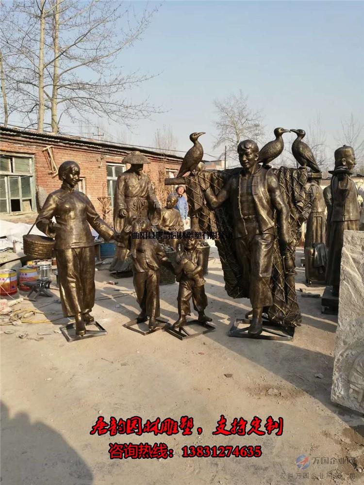玻璃钢渔民雕塑,打鱼人物雕塑