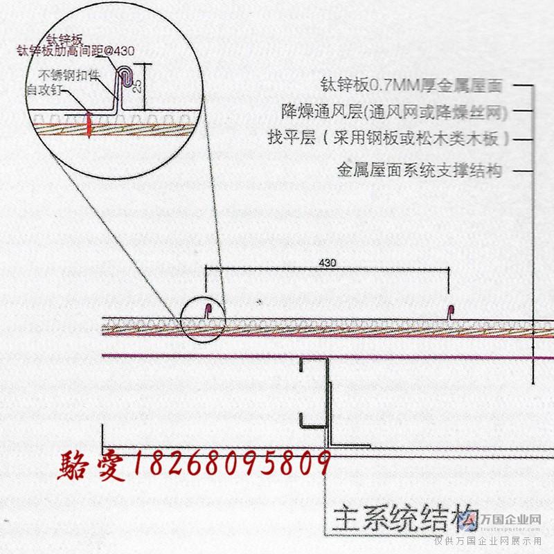 钛锌板直立锁边板节点图2