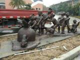 广东玻璃钢雕塑厂家供应拔萝卜组合人物雕塑  户外景观雕塑摆件