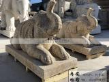 黄锈石大象石雕精品石象卧象休闲家居摆件吉祥象