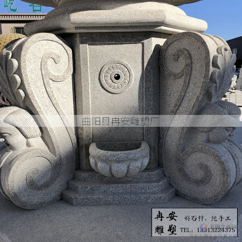 雕刻花岗岩喷泉欧式喷泉摆件精品雕刻小孩喷水