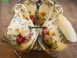 玫瑰欧式1碟1勺1架创意象牙瓷咖啡杯碟茶具咖啡杯配碟子