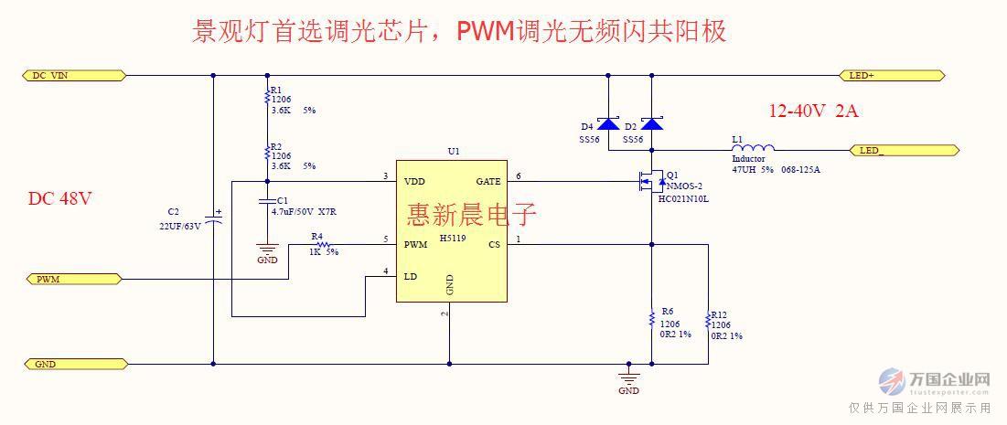 深圳市惠新晨电子有限公司提供DC-DC 5-100V输入的降压恒流高恒流精度调光IC,调光无频闪,输出支持共阳,调光过程中无任何抖动现象,抗干扰能力强,调光无噪音,支持PWM调光、模拟调光、RGB调光、0-10V调光,广泛应用于景观灯亮化照明、洗墙灯、舞台灯等低压应用 惠新晨电子专业低压灯行业10年,对LED景观灯、洗墙灯、舞台灯市场有着深入的了解,有着丰富的经验,实力雄厚,技术支持,实力供应商,可以做月结,惠新晨电子是您值得信赖合作的实力电源IC供应商