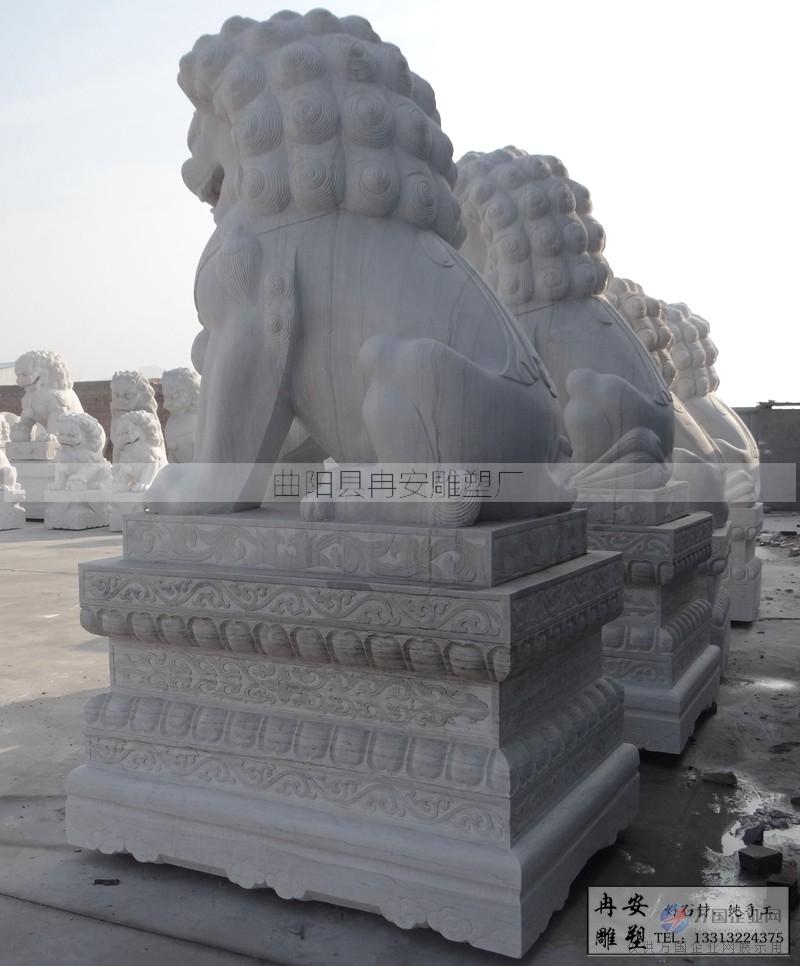 汉白玉狮子石雕精品狮子镇宅招财狮子中式狮子
