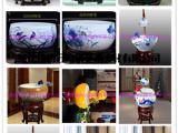 供应手绘青花瓷鱼缸聚宝盆招财摆件景观陶瓷喷泉