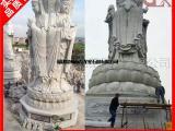 精品佛像雕塑定做 大理石三面观音像石刻 寺庙观音摆件