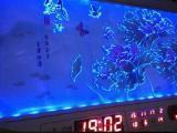 超薄数码3D立体彩雕灯电子LED万年历挂钟表客厅静音装饰画