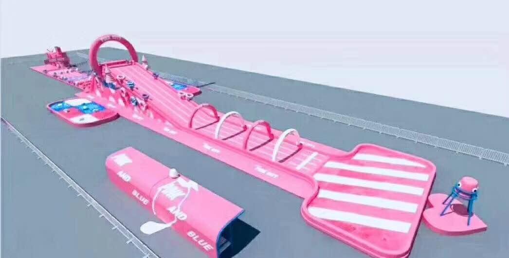 粉色水上滑道闯关现货出租60×5充气大滑梯租赁