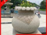 黄锈石欧式花钵 景观石材花盆 石雕花钵批发