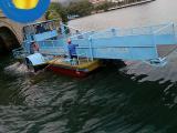 半自动割草船 前收前卸收集设备 水面垃圾打捞船