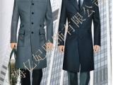 银行男员工工作服大衣 长款双面呢外套藏蓝色