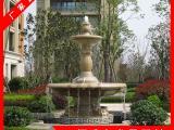喷泉厂家哪家好 大型石雕水景喷泉 黄锈石水钵