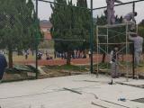 足球场围网篮球场护栏网勾花护栏网菱形网绿色菱形网包胶护栏网