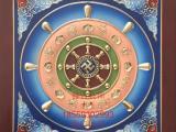 盛古古建寺庙地宫佛塔天花吊顶古建彩绘装修扣板雕花浮雕法轮